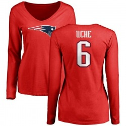 Women's Josh Uche New England Patriots Name & Number Logo Slim Fit Long Sleeve T-Shirt - Red