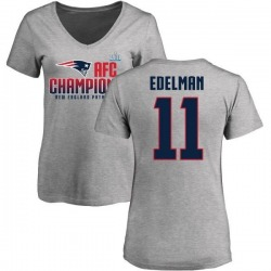 Women's Julian Edelman New England Patriots 2017 AFC Champions V-Neck T-Shirt - Heather Gray