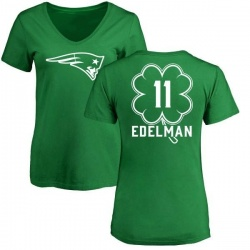 Women's Julian Edelman New England Patriots Green St. Patrick's Day Name & Number V-Neck T-Shirt