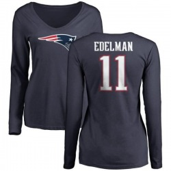 Women's Julian Edelman New England Patriots Name & Number Logo Slim Fit Long Sleeve T-Shirt - Navy