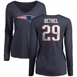 Women's Justin Bethel New England Patriots Name & Number Logo Slim Fit Long Sleeve T-Shirt - Navy