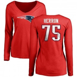 Women's Justin Herron New England Patriots Name & Number Logo Slim Fit Long Sleeve T-Shirt - Red