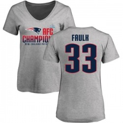 Women's Kevin Faulk New England Patriots 2017 AFC Champions V-Neck T-Shirt - Heather Gray