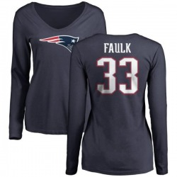 Women's Kevin Faulk New England Patriots Name & Number Logo Slim Fit Long Sleeve T-Shirt - Navy