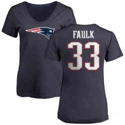 Women's Kevin Faulk New England Patriots Name & Number Logo T-Shirt - Navy
