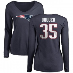 Women's Kyle Dugger New England Patriots Name & Number Logo Slim Fit Long Sleeve T-Shirt - Navy
