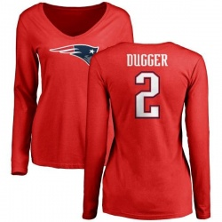Women's Kyle Dugger New England Patriots Name & Number Logo Slim Fit Long Sleeve T-Shirt - Red