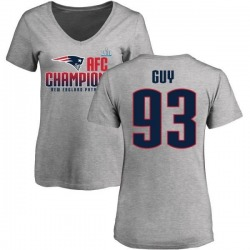 Women's Lawrence Guy New England Patriots 2017 AFC Champions V-Neck T-Shirt - Heather Gray