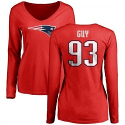Women's Lawrence Guy New England Patriots Name & Number Logo Slim Fit Long Sleeve T-Shirt - Red