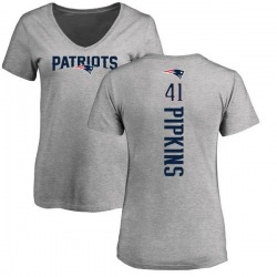 Women's Lenzy Pipkins New England Patriots Backer V-Neck T-Shirt - Ash