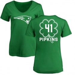Women's Lenzy Pipkins New England Patriots Green St. Patrick's Day Name & Number V-Neck T-Shirt