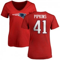 Women's Lenzy Pipkins New England Patriots Name & Number Logo Slim Fit T-Shirt - Red