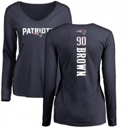 Women's Malcom Brown New England Patriots Backer Slim Fit Long Sleeve T-Shirt - Navy