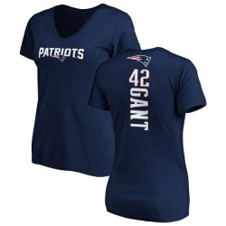 Women's Malik Gant New England Patriots Backer Slim Fit T-Shirt - Navy