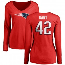 Women's Malik Gant New England Patriots Name & Number Logo Slim Fit Long Sleeve T-Shirt - Red