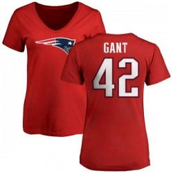 Women's Malik Gant New England Patriots Name & Number Logo Slim Fit T-Shirt - Red