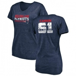 Women's Marcus Cannon New England Patriots Retro Tri-Blend V-Neck T-Shirt - Navy