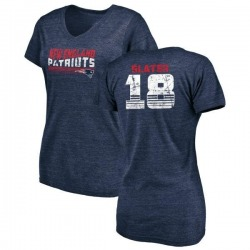 Women's Matthew Slater New England Patriots Retro Tri-Blend V-Neck T-Shirt - Navy