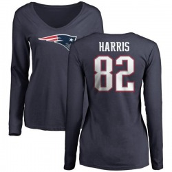 Women's Maurice Harris New England Patriots Name & Number Logo Slim Fit Long Sleeve T-Shirt - Navy