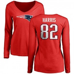 Women's Maurice Harris New England Patriots Name & Number Logo Slim Fit Long Sleeve T-Shirt - Red
