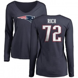 Women's Max Rich New England Patriots Name & Number Logo Slim Fit Long Sleeve T-Shirt - Navy