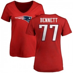 Women's Michael Bennett New England Patriots Name & Number Logo Slim Fit T-Shirt - Red