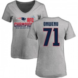Women's Michael Onwenu New England Patriots 2017 AFC Champions V-Neck T-Shirt - Heather Gray