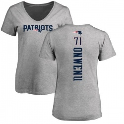 Women's Michael Onwenu New England Patriots Backer V-Neck T-Shirt - Ash