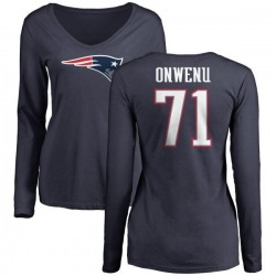 Women's Michael Onwenu New England Patriots Name & Number Logo Slim Fit Long Sleeve T-Shirt - Navy