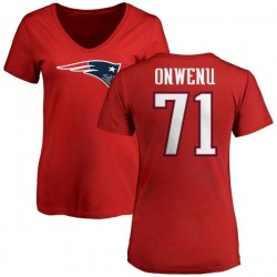 Women's Michael Onwenu New England Patriots Name & Number Logo Slim Fit T-Shirt - Red
