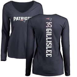 Women's Mike Gillislee New England Patriots Backer Slim Fit Long Sleeve T-Shirt - Navy