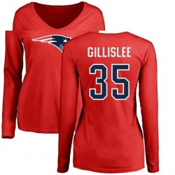 Women's Mike Gillislee New England Patriots Name & Number Logo Slim Fit Long Sleeve T-Shirt - Red