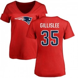 Women's Mike Gillislee New England Patriots Name & Number Logo Slim Fit T-Shirt - Red