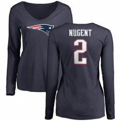 Women's Mike Nugent New England Patriots Name & Number Logo Slim Fit Long Sleeve T-Shirt - Navy