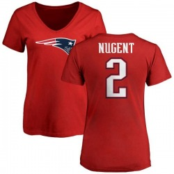 Women's Mike Nugent New England Patriots Name & Number Logo Slim Fit T-Shirt - Red
