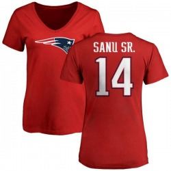 Women's Mohamed Sanu New England Patriots Name & Number Logo Slim Fit T-Shirt - Red