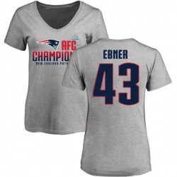 Women's Nate Ebner New England Patriots 2017 AFC Champions V-Neck T-Shirt - Heather Gray