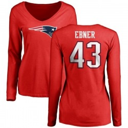 Women's Nate Ebner New England Patriots Name & Number Logo Slim Fit Long Sleeve T-Shirt - Red
