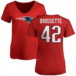 Women's Nick Brossette New England Patriots Name & Number Logo Slim Fit T-Shirt - Red