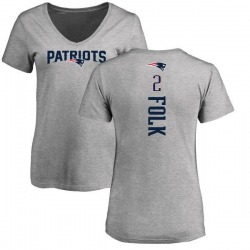 Women's Nick Folk New England Patriots Backer V-Neck T-Shirt - Ash
