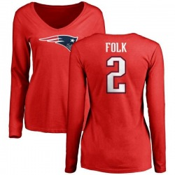 Women's Nick Folk New England Patriots Name & Number Logo Slim Fit Long Sleeve T-Shirt - Red