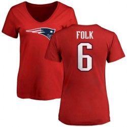 Women's Nick Folk New England Patriots Name & Number Logo Slim Fit T-Shirt - Red