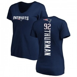 Women's Nick Thurman New England Patriots Backer Slim Fit T-Shirt - Navy