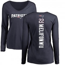 Women's Obi Melifonwu New England Patriots Backer Slim Fit Long Sleeve T-Shirt - Navy