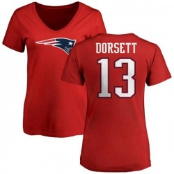 Women's Phillip Dorsett New England Patriots Name & Number Logo Slim Fit T-Shirt - Red