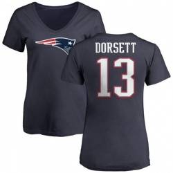 Women's Phillip Dorsett New England Patriots Name & Number Logo T-Shirt - Navy