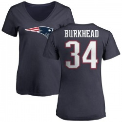 Women's Rex Burkhead New England Patriots Name & Number Logo T-Shirt - Navy