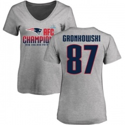 Women's Rob Gronkowski New England Patriots 2017 AFC Champions V-Neck T-Shirt - Heather Gray