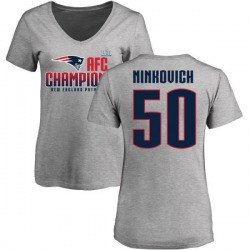 Women's Rob Ninkovich New England Patriots 2017 AFC Champions V-Neck T-Shirt - Heather Gray