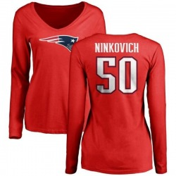 Women's Rob Ninkovich New England Patriots Name & Number Logo Slim Fit Long Sleeve T-Shirt - Red